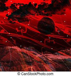parete, astratto, rosso