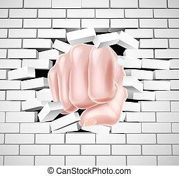 parete, attraverso, pugno, dando pugno, mattone bianco