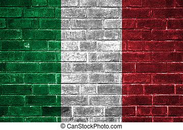parete, bandiera, italia, mattone