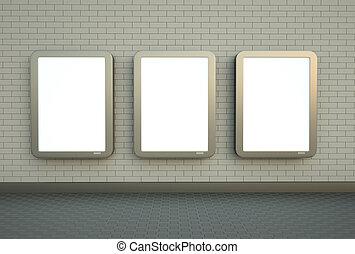 parete, bandiere, tre