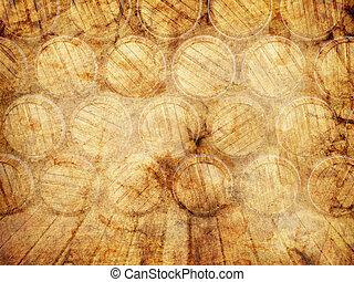 parete, barili, legno