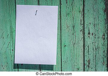 parete, bianco, appendere, foglio, vuoto