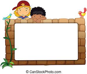 parete, bianco, bambini, asse