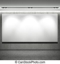 parete, bianco, bandiera, vuoto