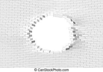 parete, bianco, buco, mattone