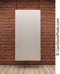 parete, bianco, mattone, asse