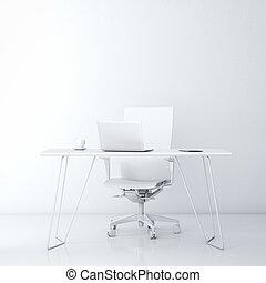 parete, bianco, moderno, posto lavoro, ufficio