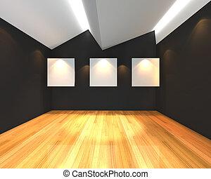 parete, bianco, nero, tela