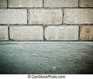parete, blocco concreto, fondo