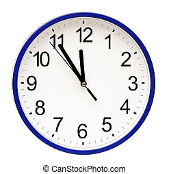 parete blu, bianco, isolato, orologio