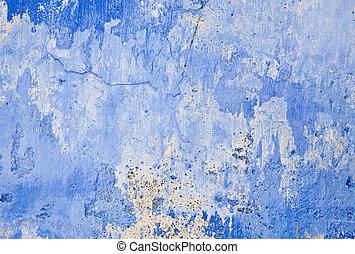 parete blu, grunge