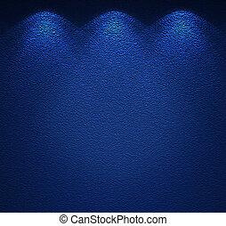 parete blu, illuminato, struttura