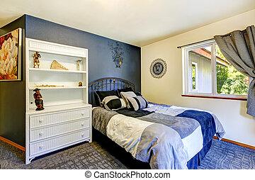 parete blu, interno, profondo, camera letto