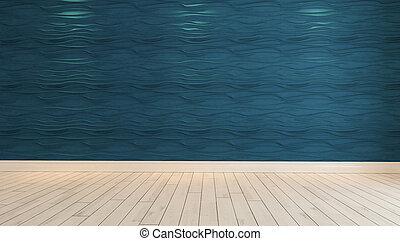 parete blu, luce, macchia, onda, interpretazione, vuoto, 3d