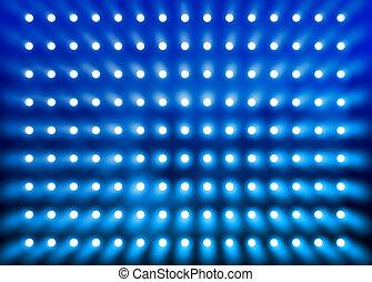 parete blu, riflettore
