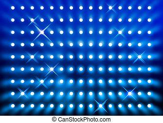 parete blu, riflettore, sfavillante