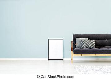 parete blu, stanza, vivente