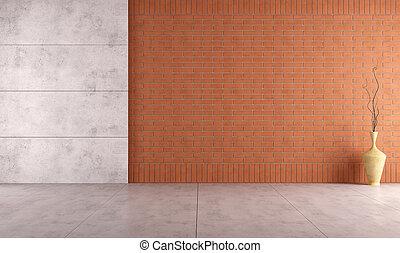 parete, btick, stanza, vuoto