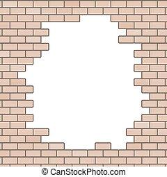 parete, buco, mattone, fondo