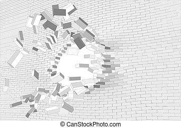 parete, buco, mattone