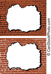 parete, buco, vettore, mattone