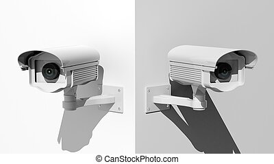 parete, cameras, due, sorveglianza, angolo, sicurezza, bianco
