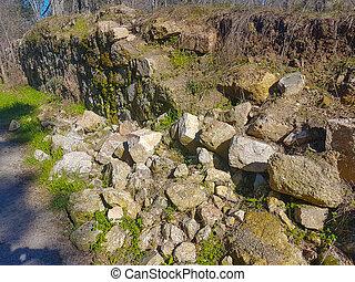 parete, campo, pietra, crollare