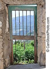 parete, cancello, giardino pietra