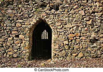 parete, cancello, pietra, antico