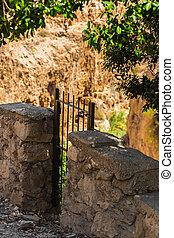 parete, cancello, pietra, metallo