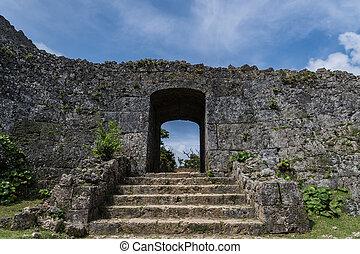 parete, cancello, pietra, uno