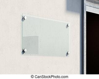 parete, cartello, vetro, renderign, vuoto, 3d