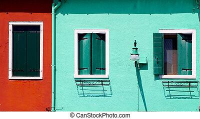 parete, casa, verde, windows, rosso