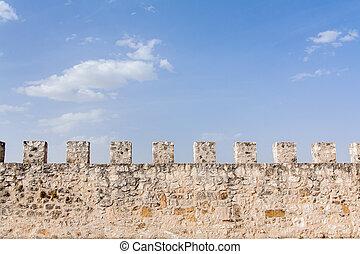 parete, castello, antico, difensivo
