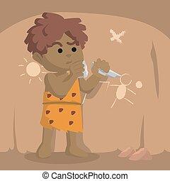 parete, caveman, africano, arte dell'intaglio