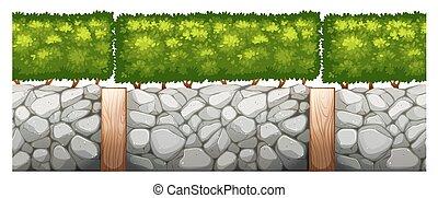 parete, cespuglio, mattone, disegno, seamless
