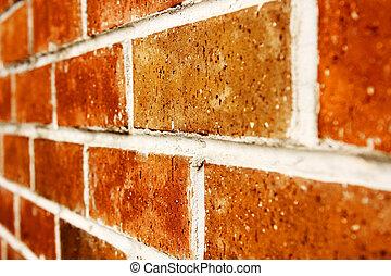 parete, chiudere, mattone, su, fondo