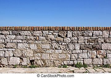 parete, cielo, pietra, vecchio, fondo