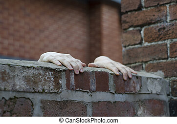 parete, cima, mani, afferrare, someones