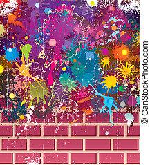 parete, colori, grunge