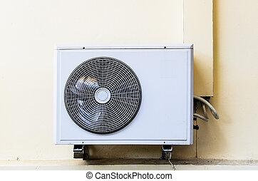 parete, compressori, pompa, calore, aria