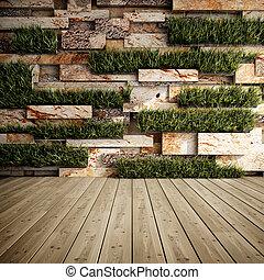 parete, con, verticale, giardini