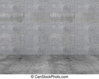 parete concreta, con, pavimento concreto