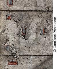parete, concreto, fesso