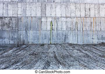 parete, concreto, grigio