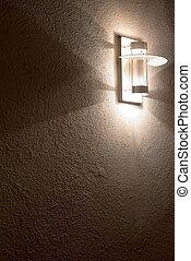 parete, concreto, lampada, moderno