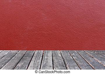 parete, concreto, legno, fondo, tavola, rosso
