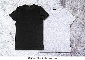 parete, concreto,  T-shirts, fondo, vuoto