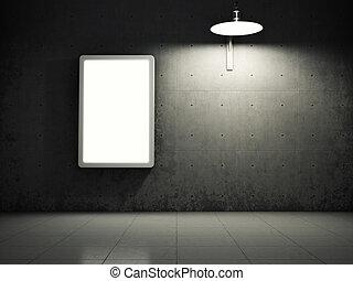 parete, concreto, tabellone, sporco