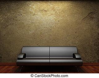 parete, concreto, vecchio, divano